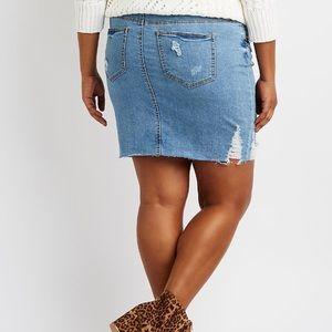 87d181772a Skirts | Plus Size Refuge Destroyed Denim Skirt Nwt | Poshmark